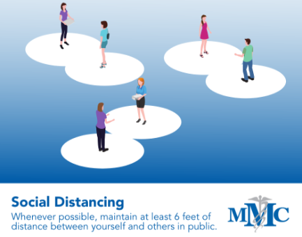 Social Distancing - Whenever possible, maintain at least 6 ft. distance between yourself and others in public.