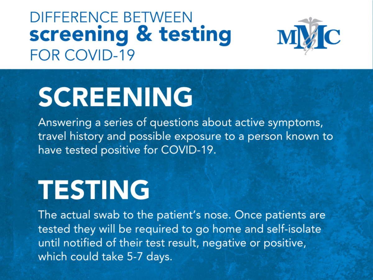 Screening vs. testing description